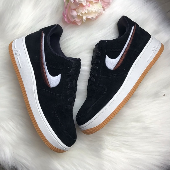 Nike Shoes | Black Suede Air Force 1 With Gum Soles | Poshmark